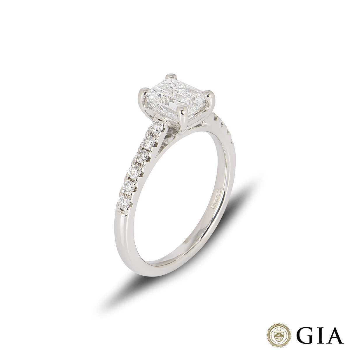 Platinum Emerald Cut Diamond Ring 1.28ct F/VS1